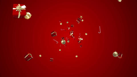 Christmas presents moving on red background Animation