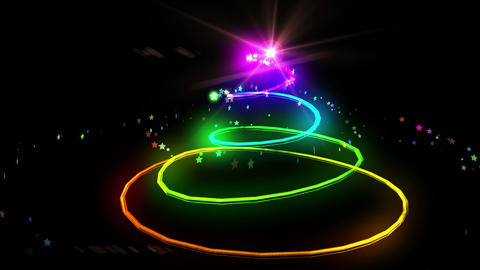 Colourful Light Forming Christmas Tree Design stock footage