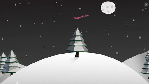 Santa and his sleigh flying over snowy landscape Animation