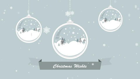 Christmas wishes banner with hanging decorations Animation