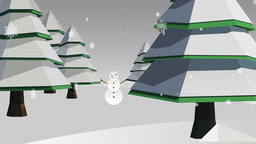 Snowflakes falling on snowy fir trees and snowman Animation