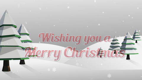 Wishing you a merry christmas greeting against snowy landscape Animation