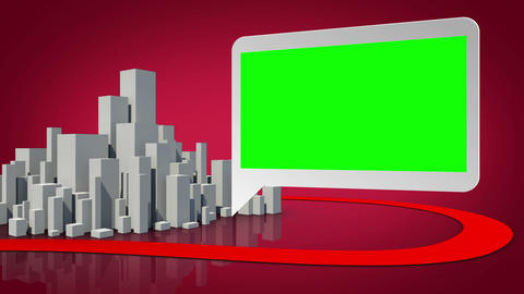 Grey city appearing with green screen display Animation