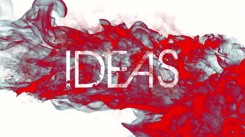 Red ink swirling in water with ideas message Footage