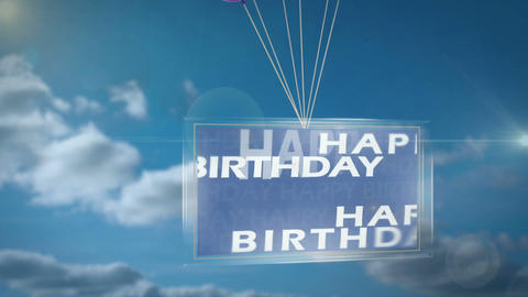 Balloons carrying happy birthday message on screen Animation