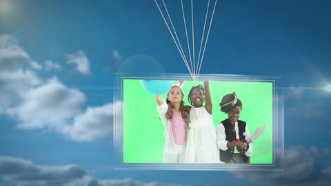 Balloons carrying screen showing children in fancy dress Animation