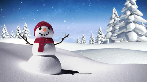 Snowman in a calm snowy landscape Animation