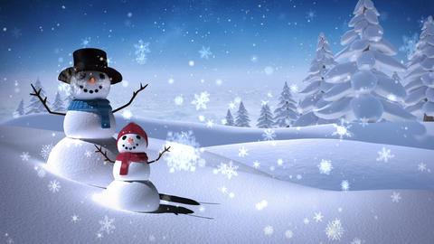 Snowmen in a calm snowy landscape Animation