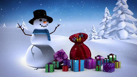 Snowman with sack of gifts in snowy landscape Animation