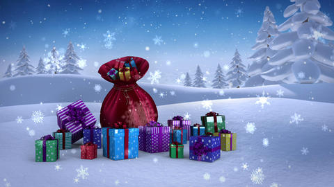 Santa sack full of gifts in snowy landscape Animation