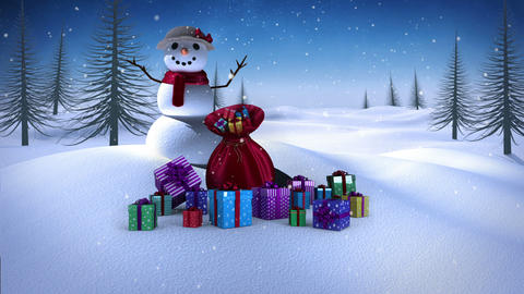 Snow woman with christmas gifts in snowy landscape Animation