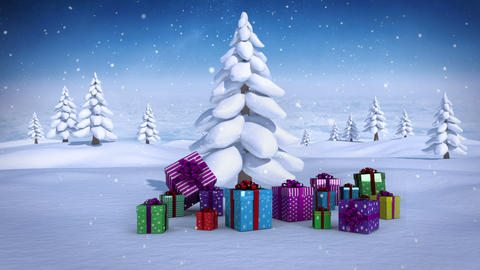 Christms gifts under fir tree in snowy landscape Animation