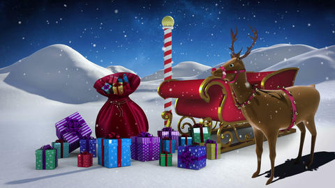 Santa sled full of gifts in snowy landscape at north pole with rudolph Animation