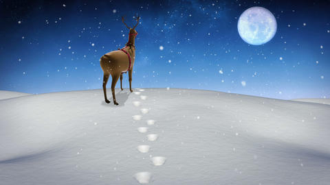 Rudolph standing on a snowy hill Animation