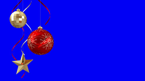 Seamless christmas decorations hanging on blue Animation