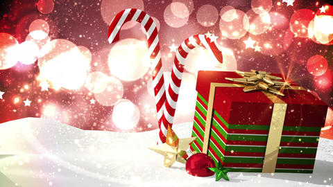Seamless christmas scene with decorations and gift Animation