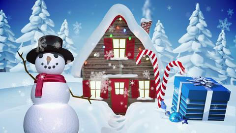 Seamless christmas scene with waving snowman Animation
