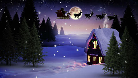 Seamless christmas scene with cottage and lights 動畫