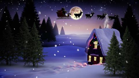 Seamless christmas scene with cottage and lights 애니메이션