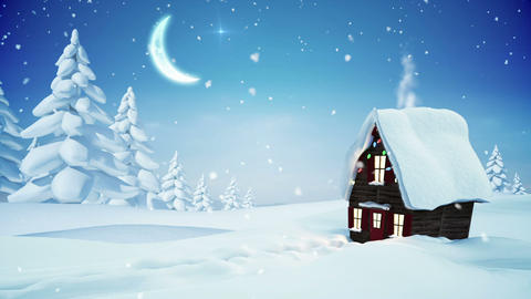 Seamless christmas scene with cottage and lights Animation