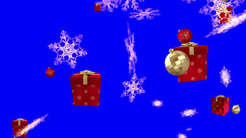 Seamless christmas decorations falling on blue Animation