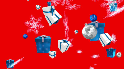 Seamless christmas decorations falling in blue and silver on red Animation
