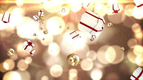 Seamless christmas presents falling on gold Animation