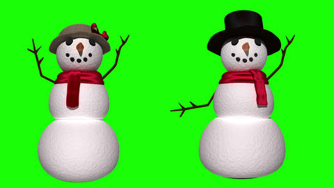 Seamless snowman and woman waving on green screen Animation
