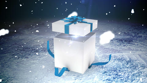 Seamless christmas present opening to reveal copy space Animation