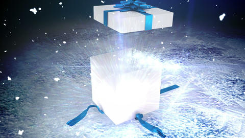 Seamless christmas present opening to reveal message Animation