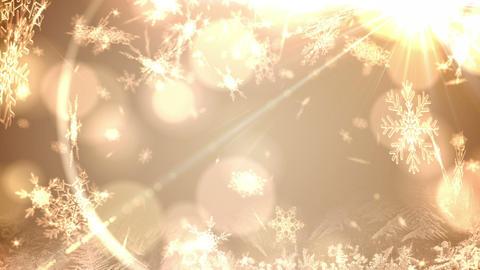 Seamless snowflakes falling on gold Animation