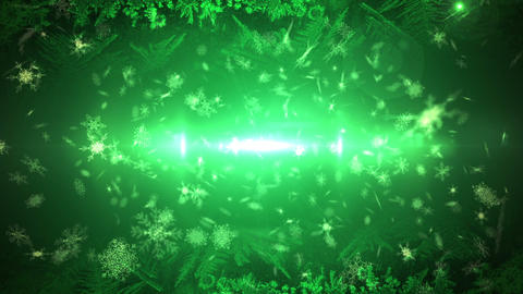 Seamless snowflakes falling in green Animation