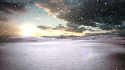 Snow falling on snowy landscape Animation