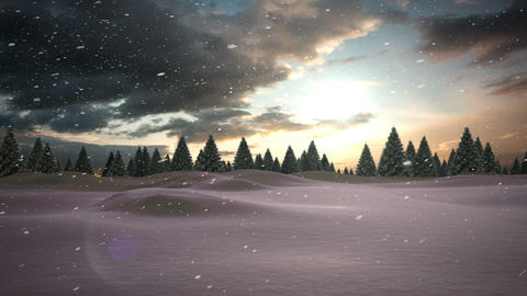 Snow falling on snowy windy landscape with forest Animation