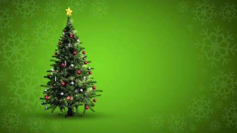 Snow falling christmas tree against snowflake pattern Animation