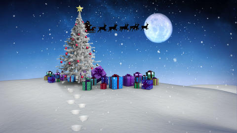 Santa and his sleigh flying over snowy landscape with tree and gifts loopable Animation