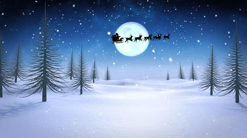 Santa and his sleigh flying over snowy landscape loopable Animation