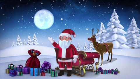 Santa waving at camera with reindeer and sleigh in snowy forest loopable Animation