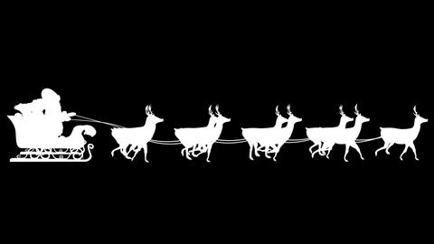 Santa and his sleigh flying against black background loopable Animation
