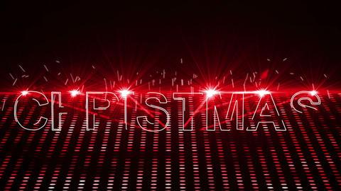 Red Laser Show With Christmas Text And Clip stock footage