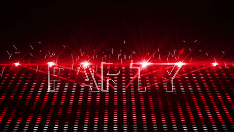 Red laser show with party text Animation