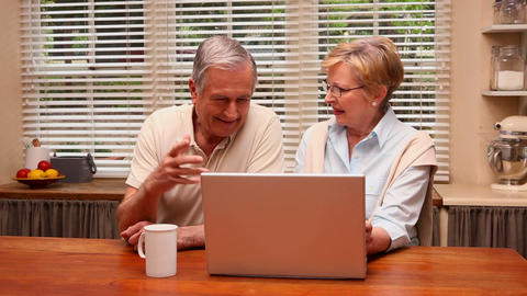 Older Couple Using Laptop Together stock footage
