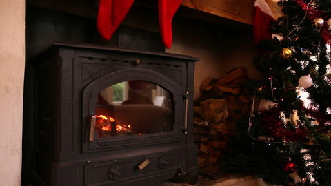 Stockings hanging over fireplace at christmas Footage