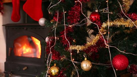 Lights twinkling on christmas tree Footage
