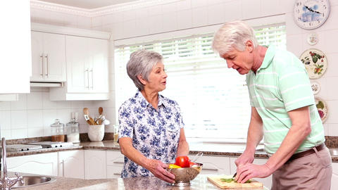 Senior Happy Couple Making Dinner Together stock footage