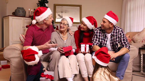 Three Generation Family Celebrating Christmas stock footage