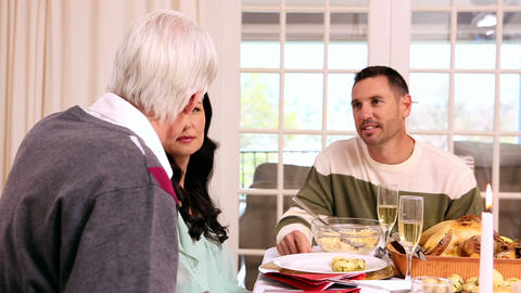 Family Having Christmas Dinner Together stock footage