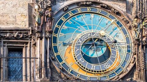 Prague Astronomical Clock stock footage