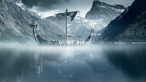 Viking Ships On Nordic Sea, Epic FullHD VisualFX S stock footage