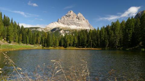 4k UHD idyllic mountain lake and tre cime de 11528 Footage